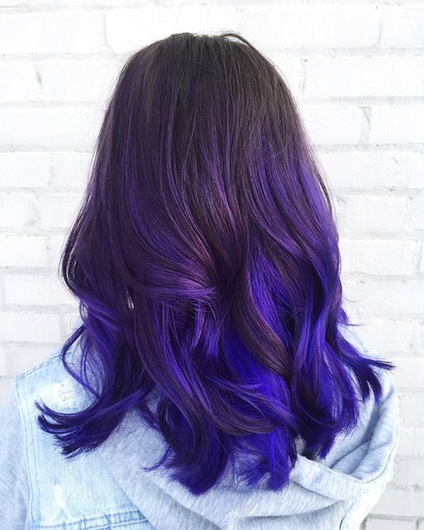 ombre hair with dark purple and blue