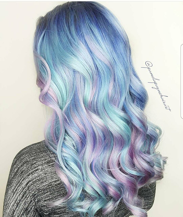 pastel blue and purple hair