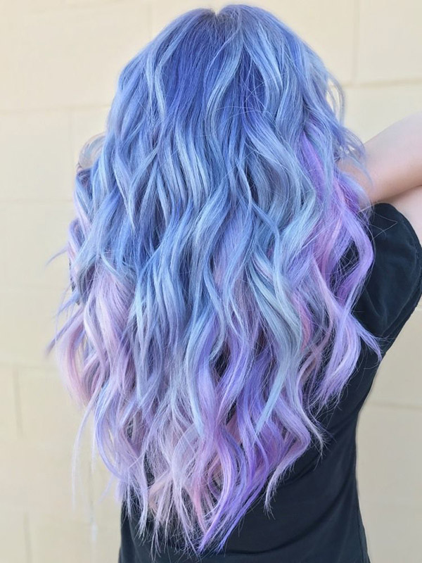 pastel blue to purple ombre