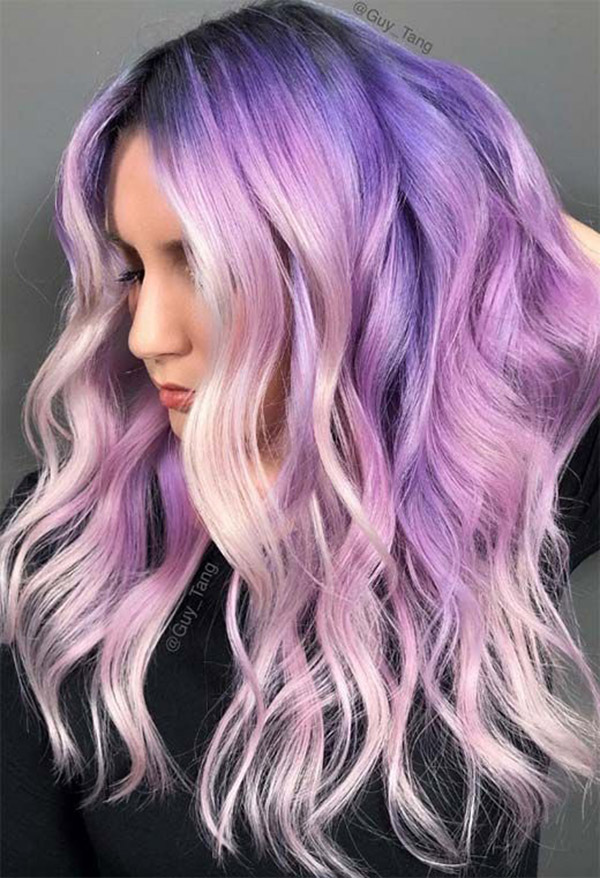 pastel purple pink and blonde hair