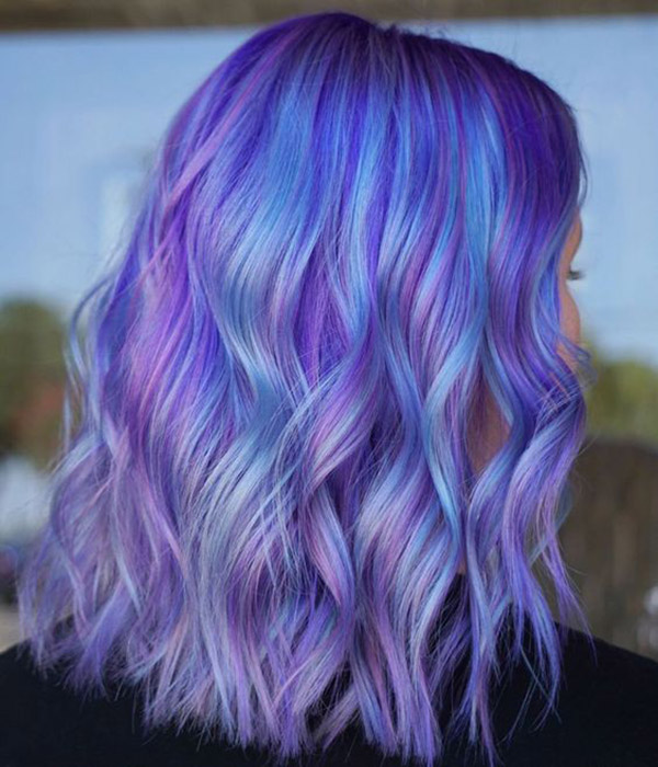 prominent hair with pastel purple and blue color