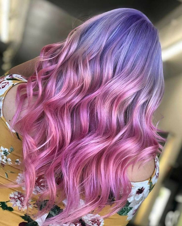 purple to pink ombre hair