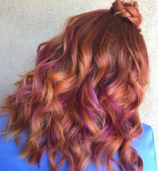 reddish browns with purple highlights