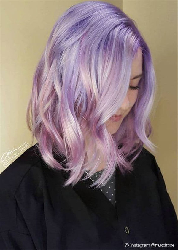 short pastel pink and purple hair