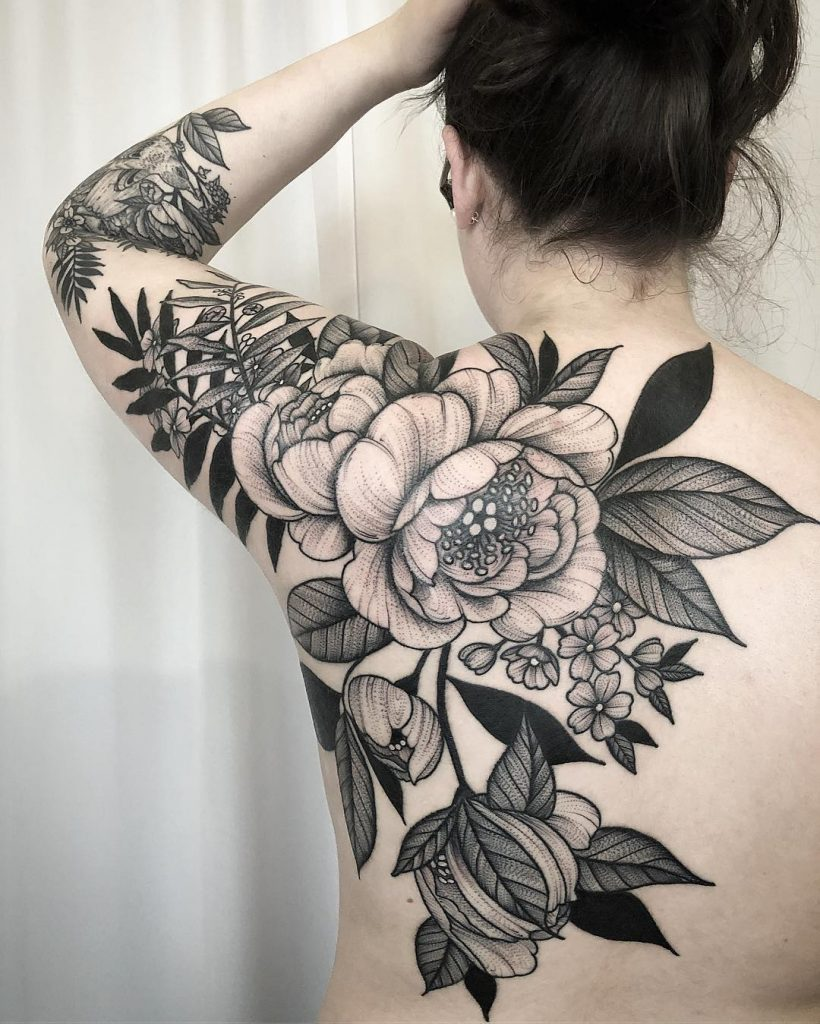 Best peony flower tattoo design