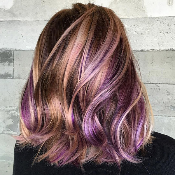 brown hair with blonde and purple highlights