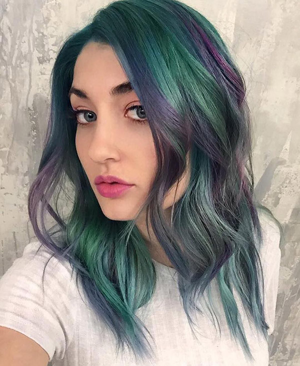 green hair with purple highlights