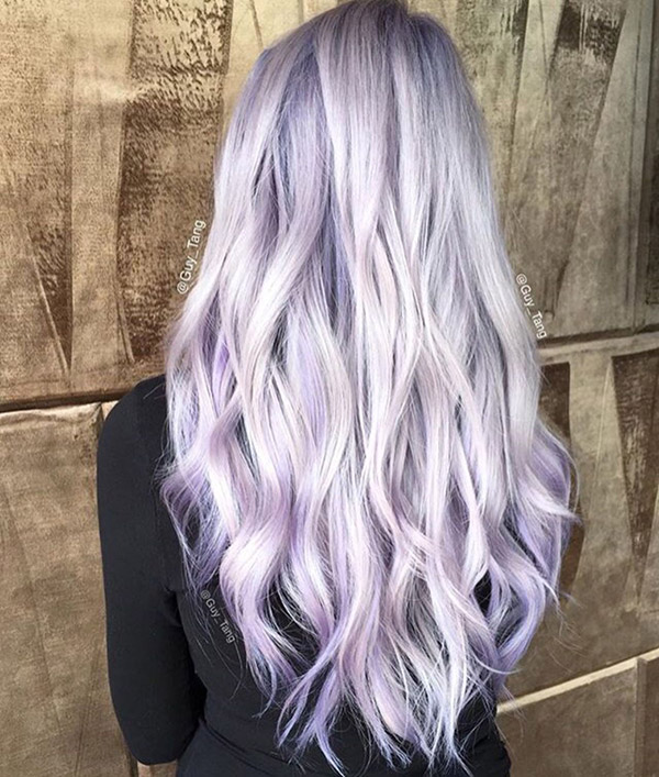 silver and pastel purple hair