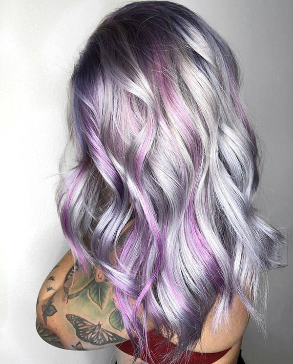 silver hair with purple highlight
