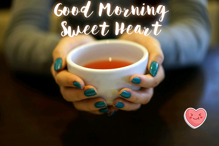 good morning sweet heart with tea cup