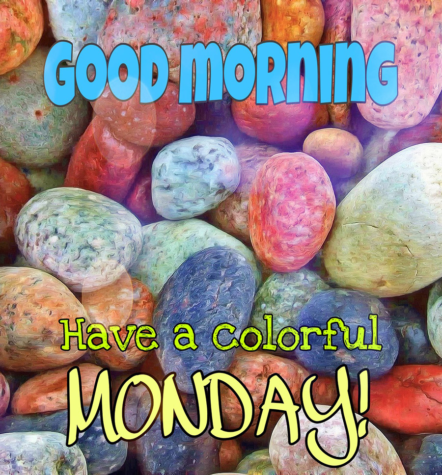 Good morning monday image with colorful pebbles