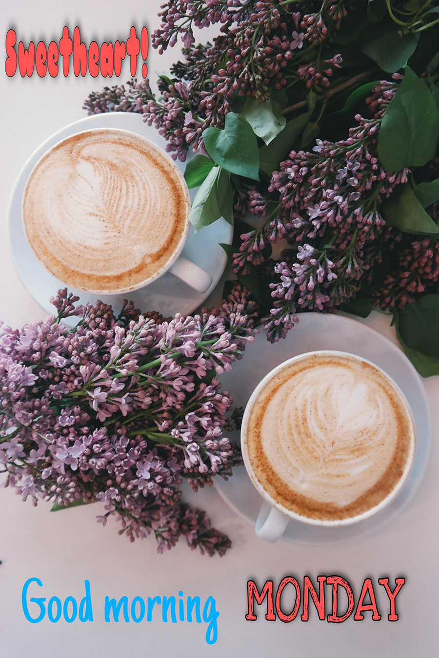 Flowers and two coffee cup