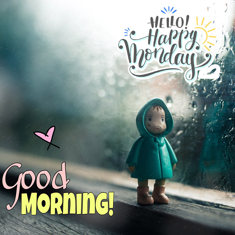 Gooood morning monday image with the boy statue in rany day