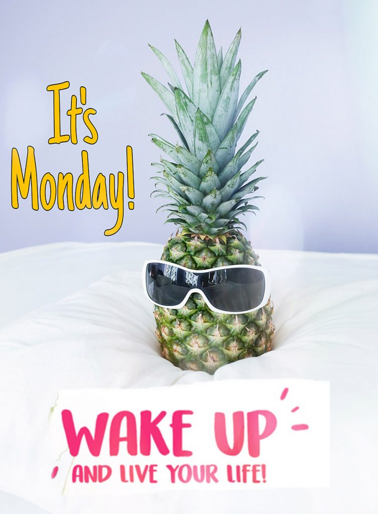 Good morning monday image with pineapple with glasses