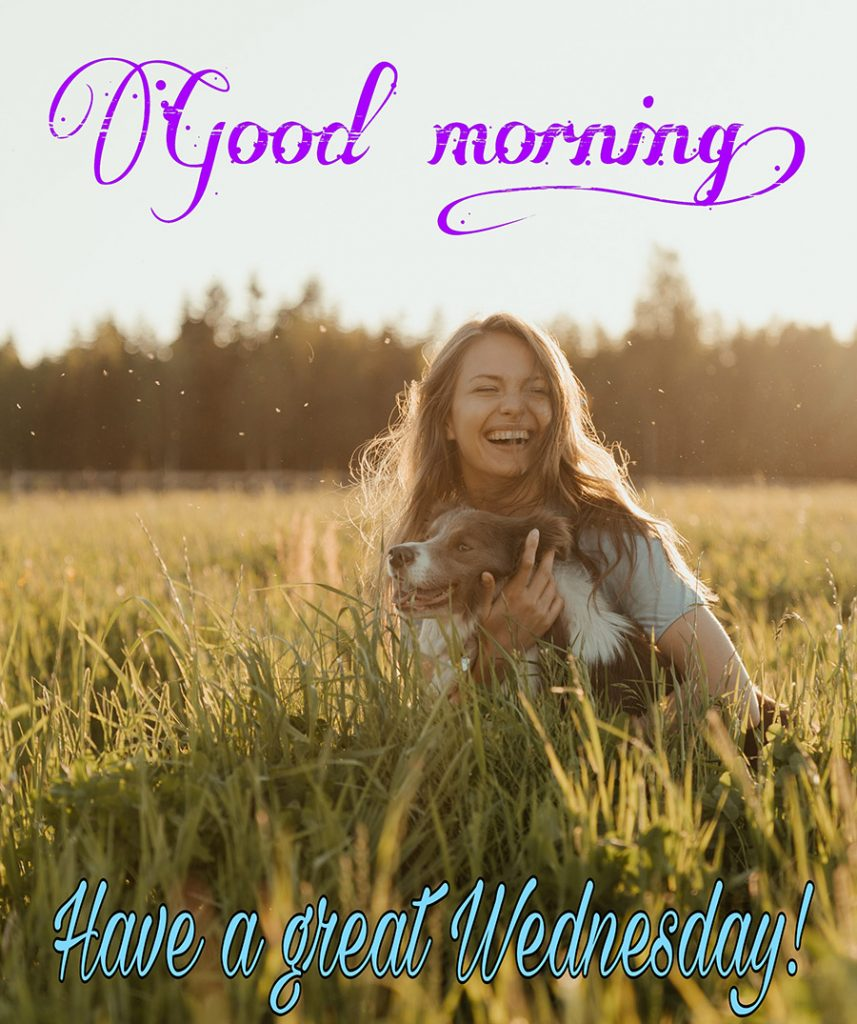 Good morning wednesday image with girl hugging dog in the sunshine