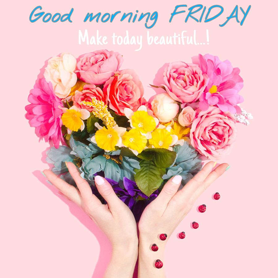Good morning friday image with flowers arranged in the shape of a heart