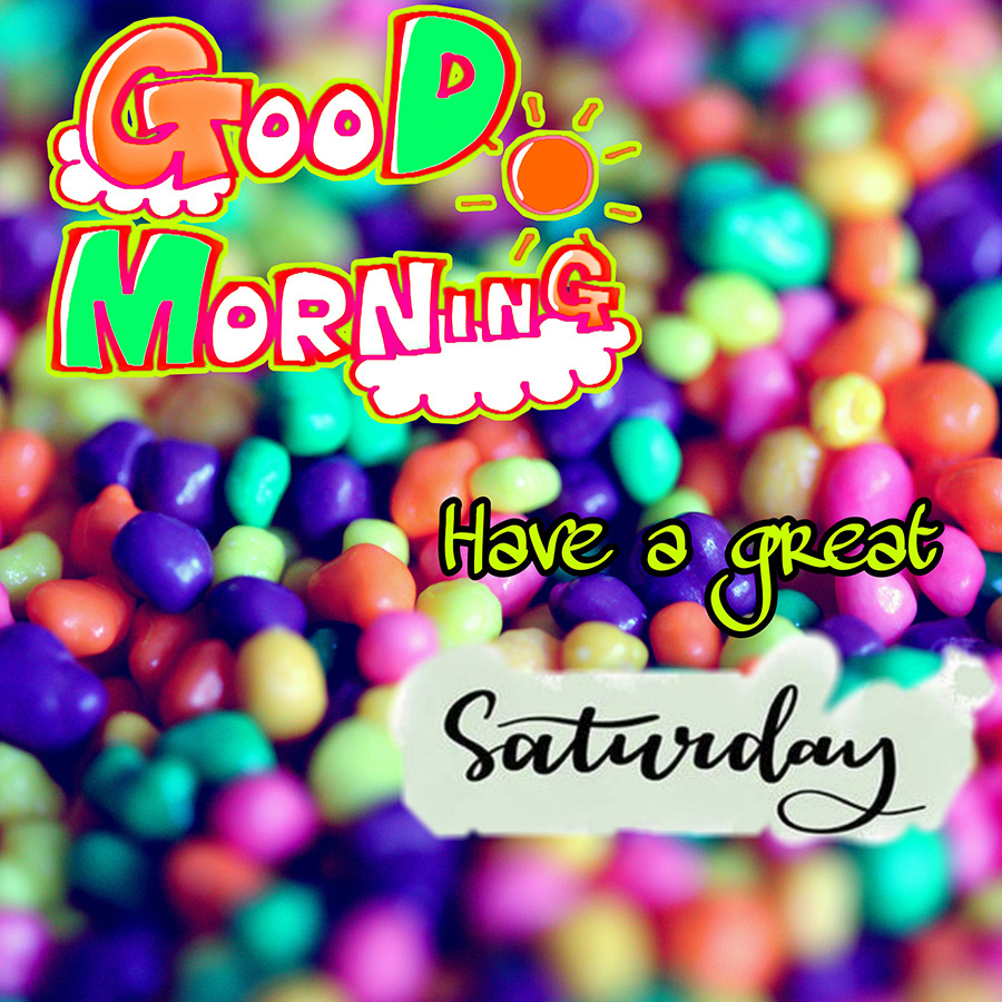 Good morning saturday image with colorful pebbles