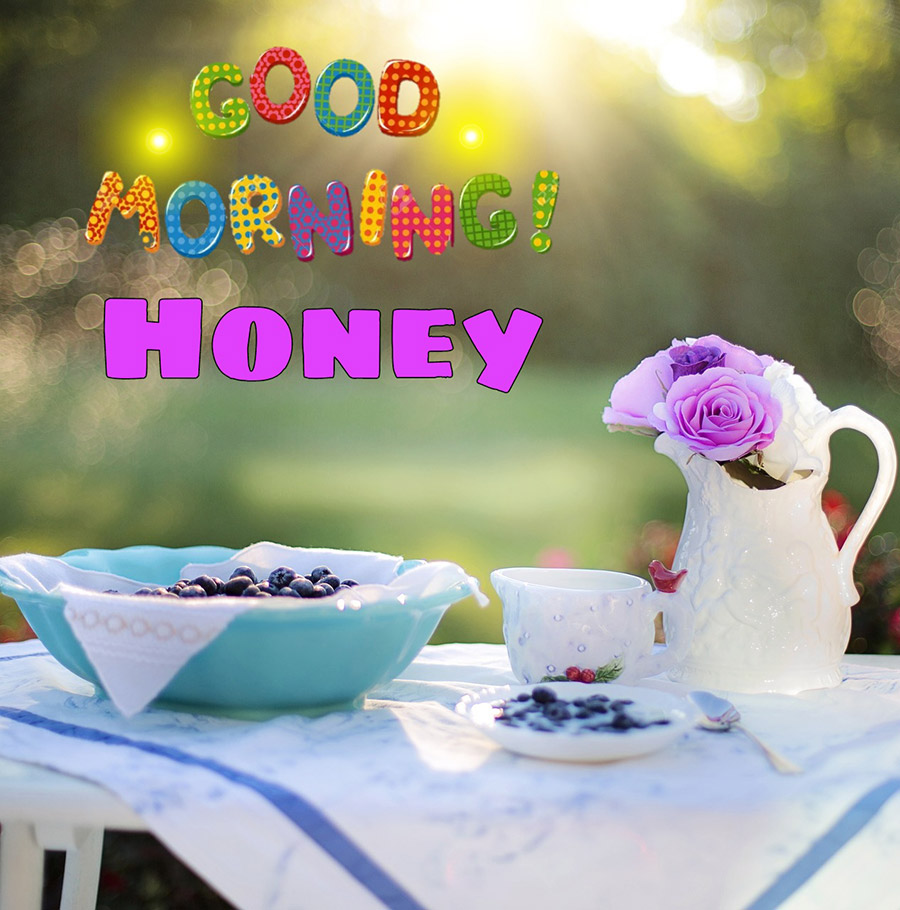 Good morning sweetheart image with blueberry breakfast