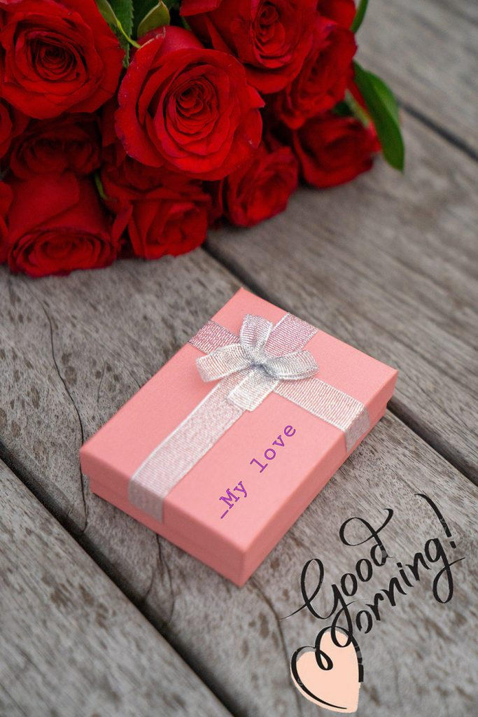 Good morning sweetheart image with rose and gift