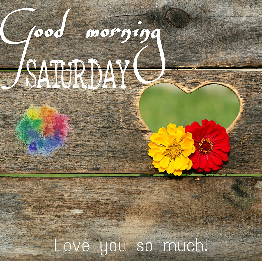 Good morning saturday image with wooden wall with heart shape
