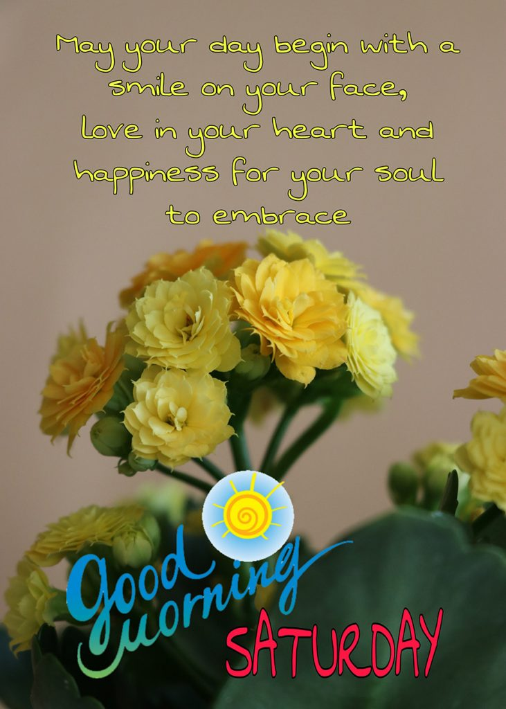 Good morning saturday image with yellow flowers