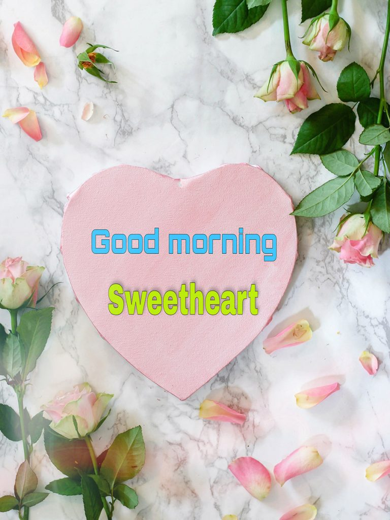 Good morning sweetheart image with heart and roses