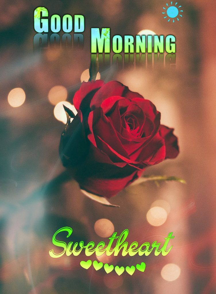 Good morning sweetheart image with rose in dark background