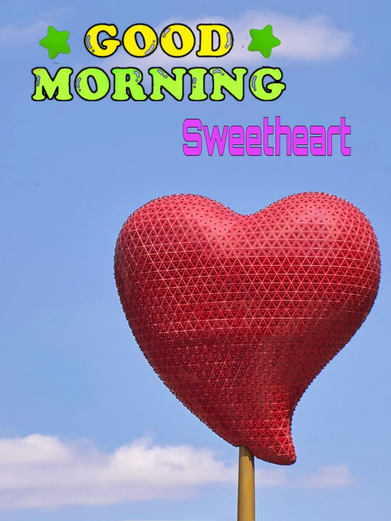 Good morning sweetheart image with heart in the sky