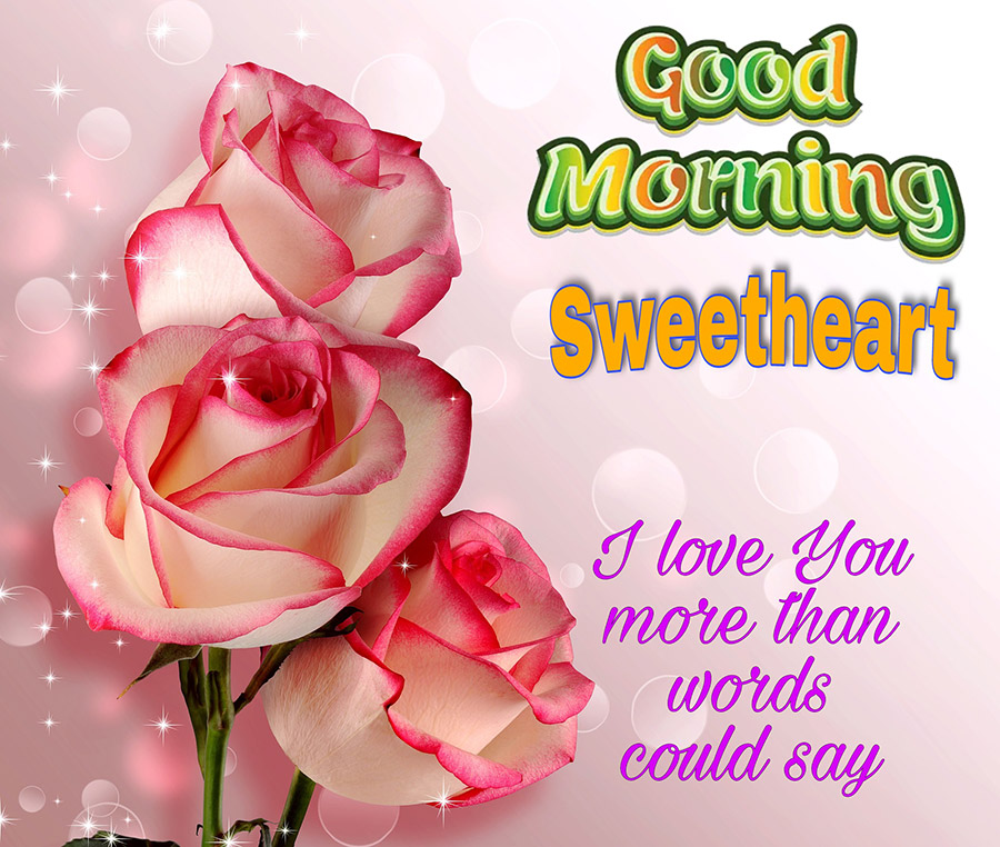 Good morning sweetheart with roses and pink background
