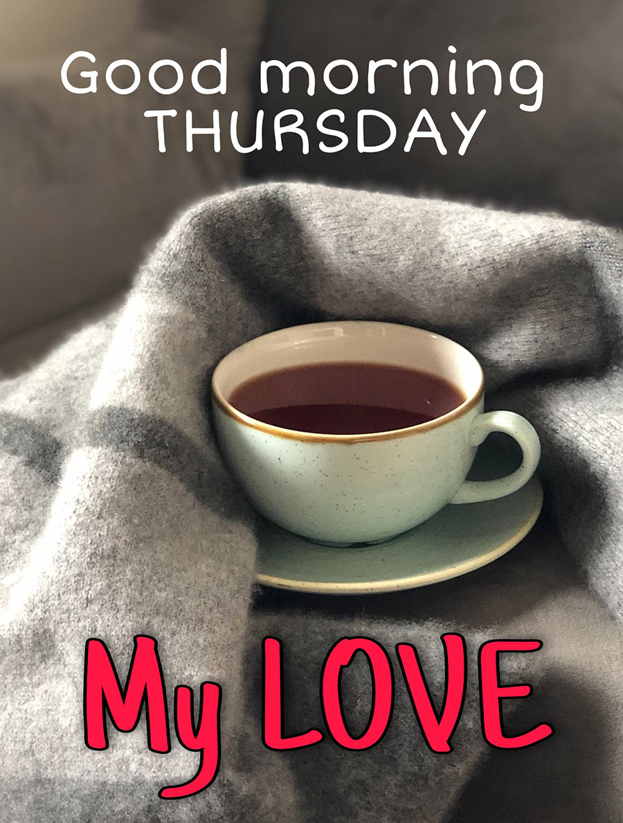 Good morning thursday image with coffee cup