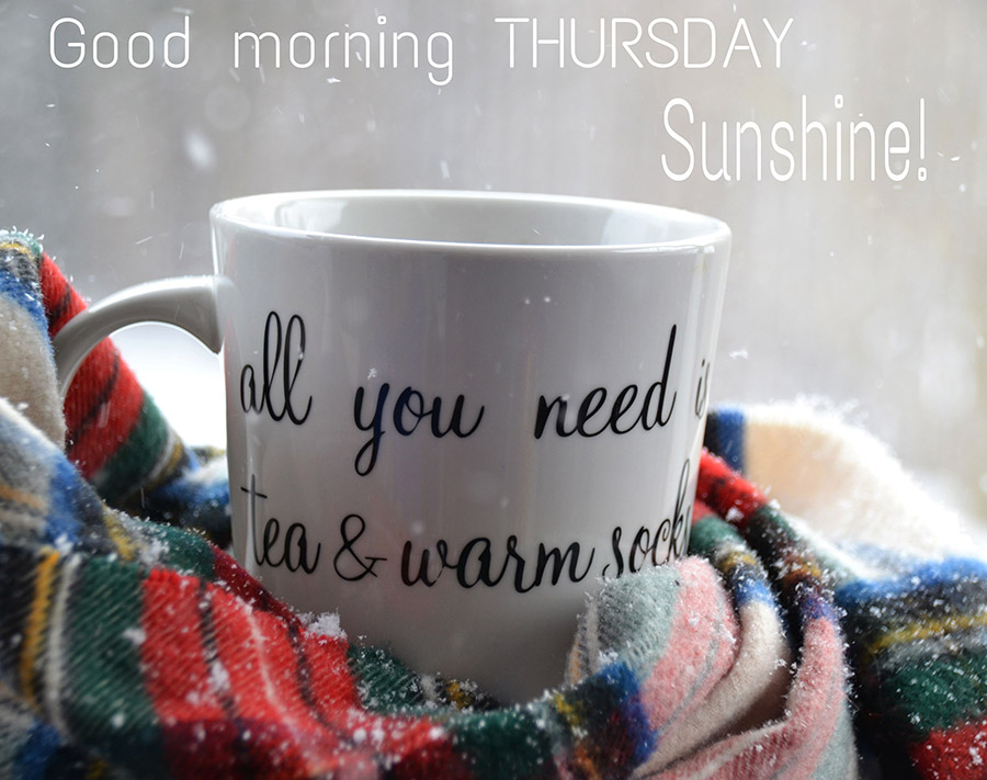 Good morning thursday image with porcelain cup