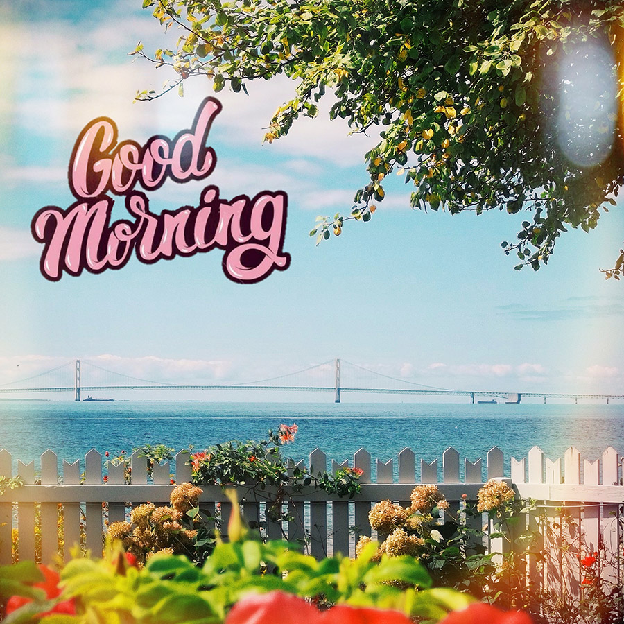 Good morning friend image with seascape