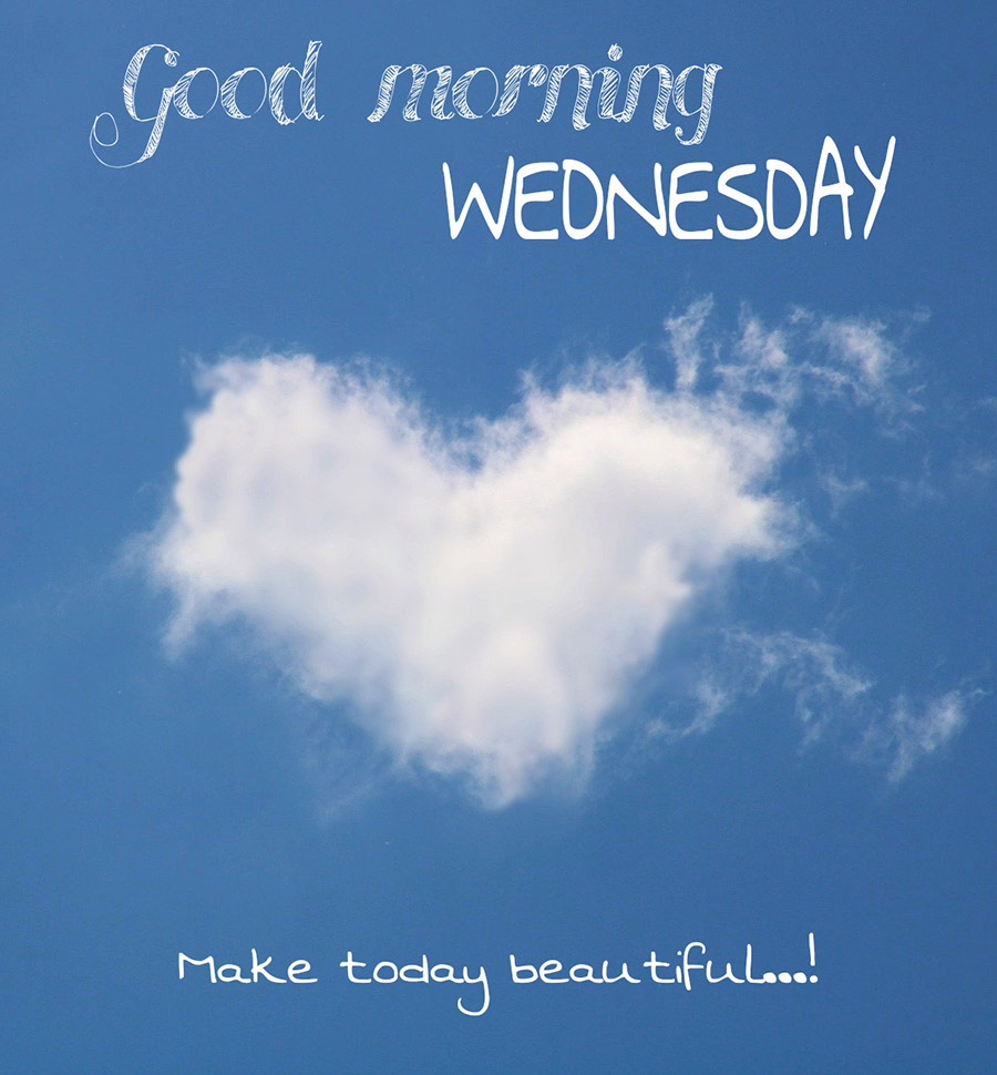 Good morning wednesday image with heart shaped cloud