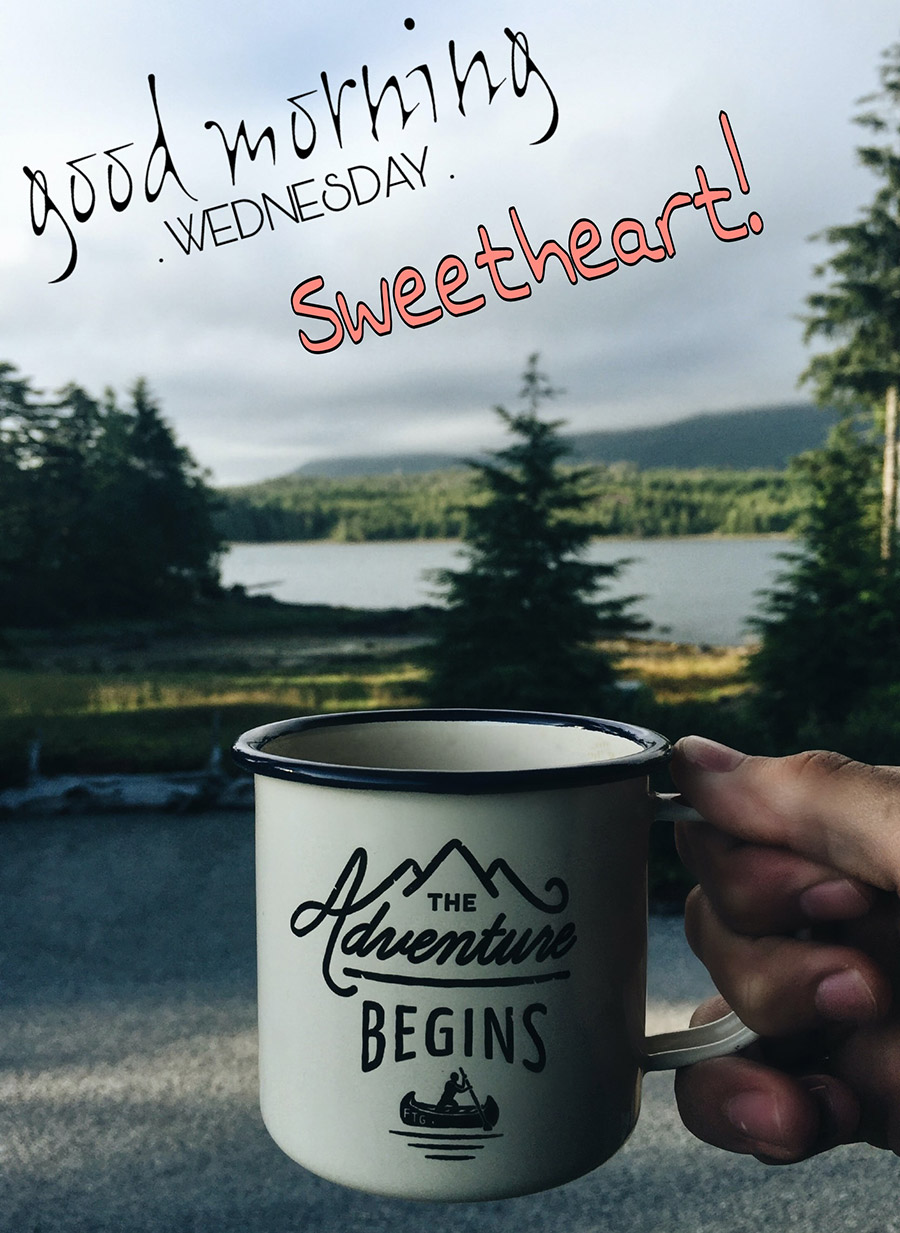 Good morning wednesday image with coffee cup