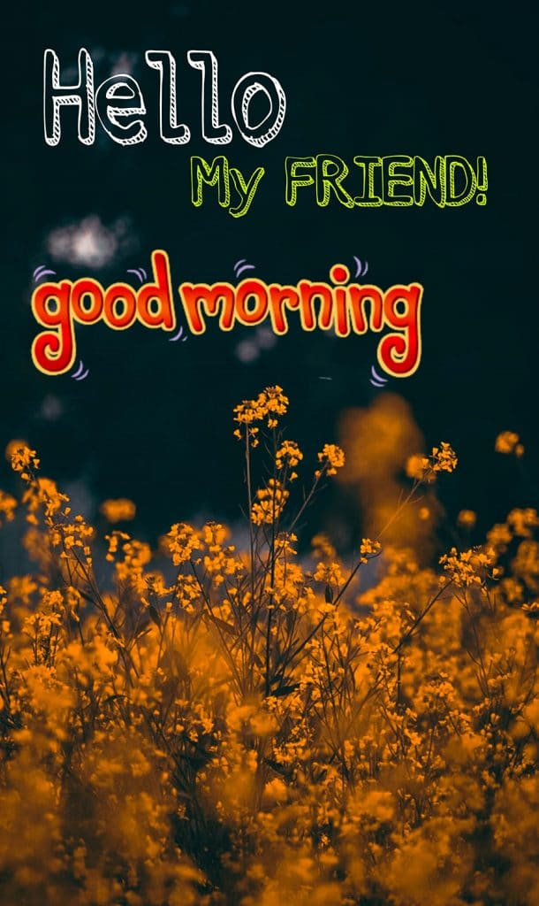 Good morning friend image with dark yellow flowers