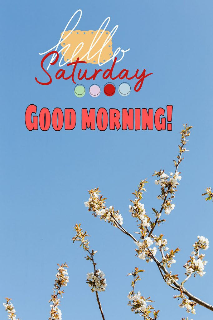 Good morning saturday image with white peach blossom in the sky