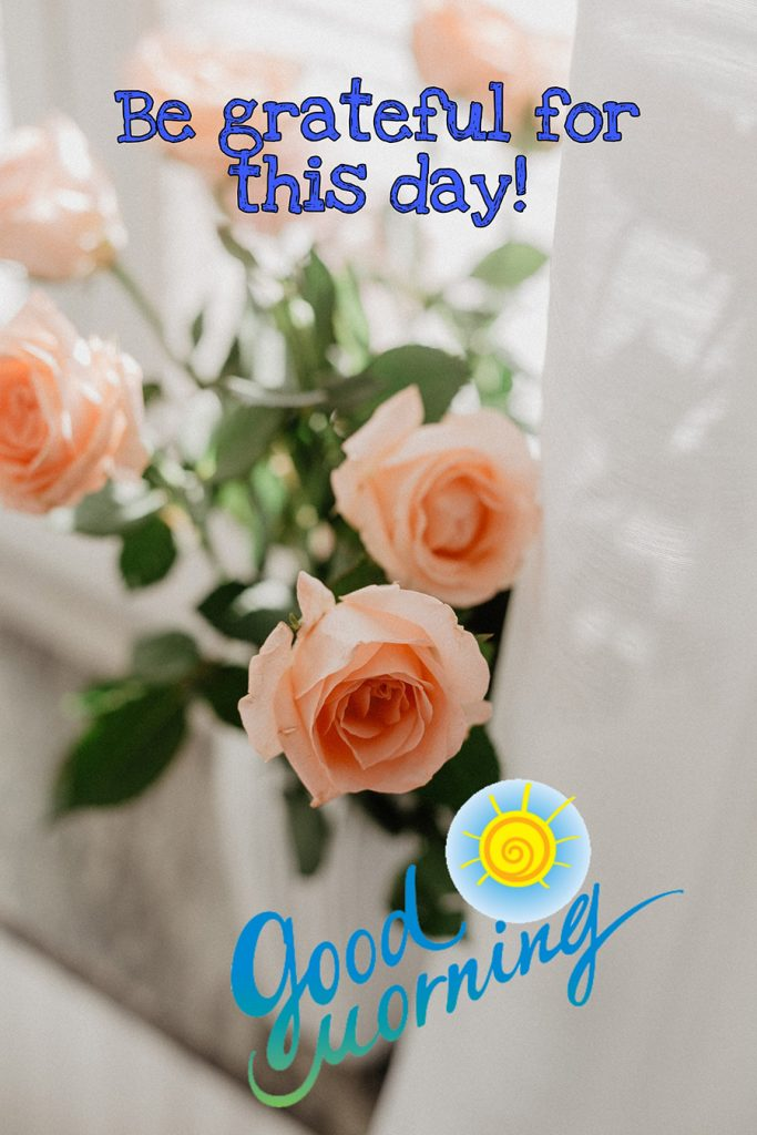 Be grateful for thí day good morning image with roses