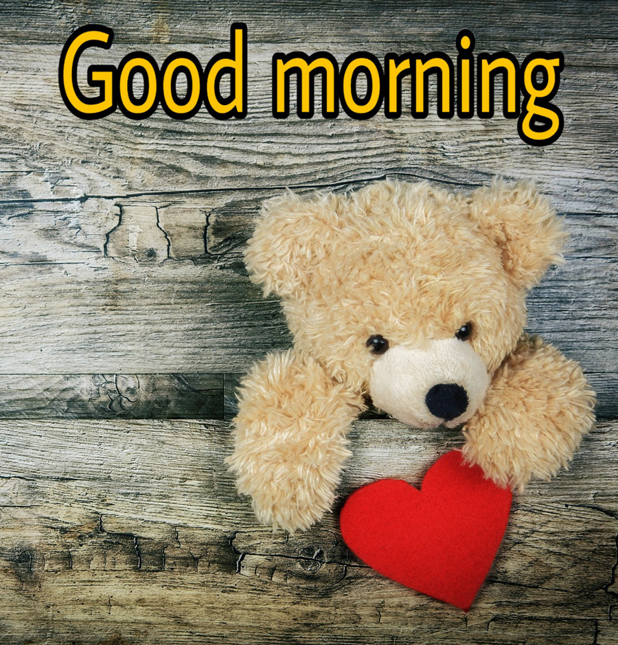 Good morning image with teddy bear and heart