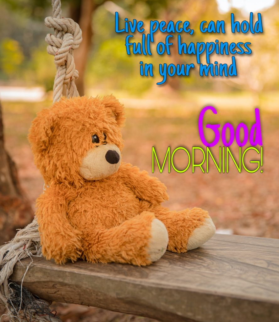 Good morning image with teddy bear sitting on a wooden swing