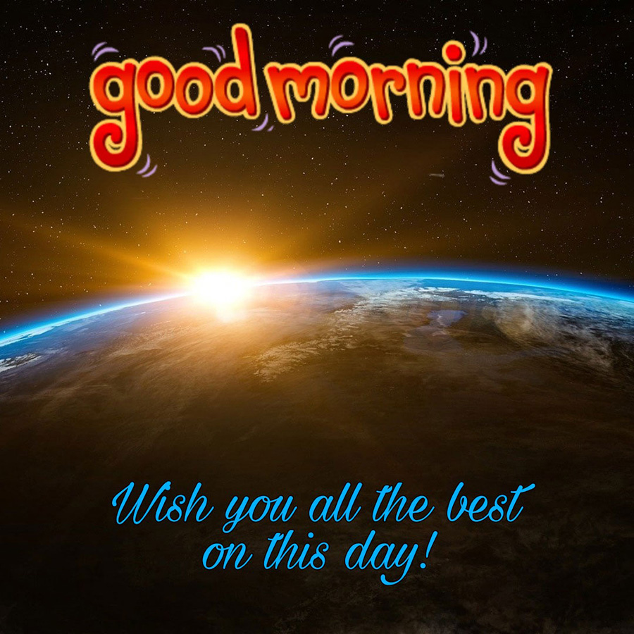 Good morning image with sun and earth scene