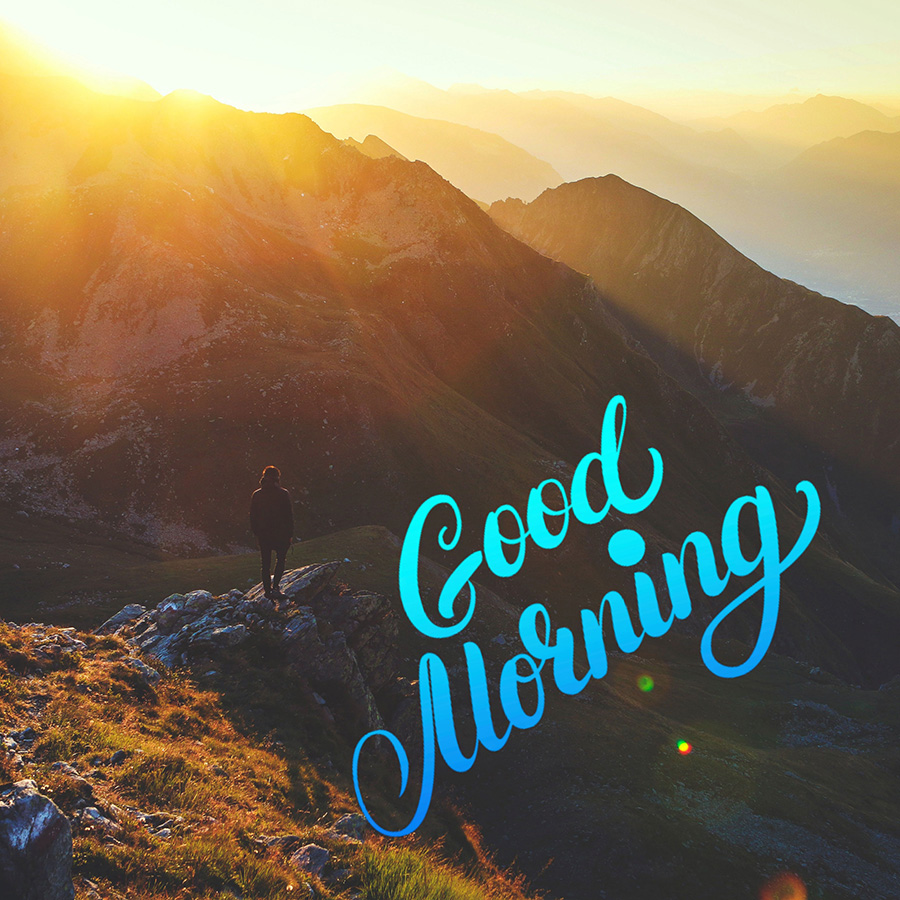 Good morning image with rising sun behind the mountains