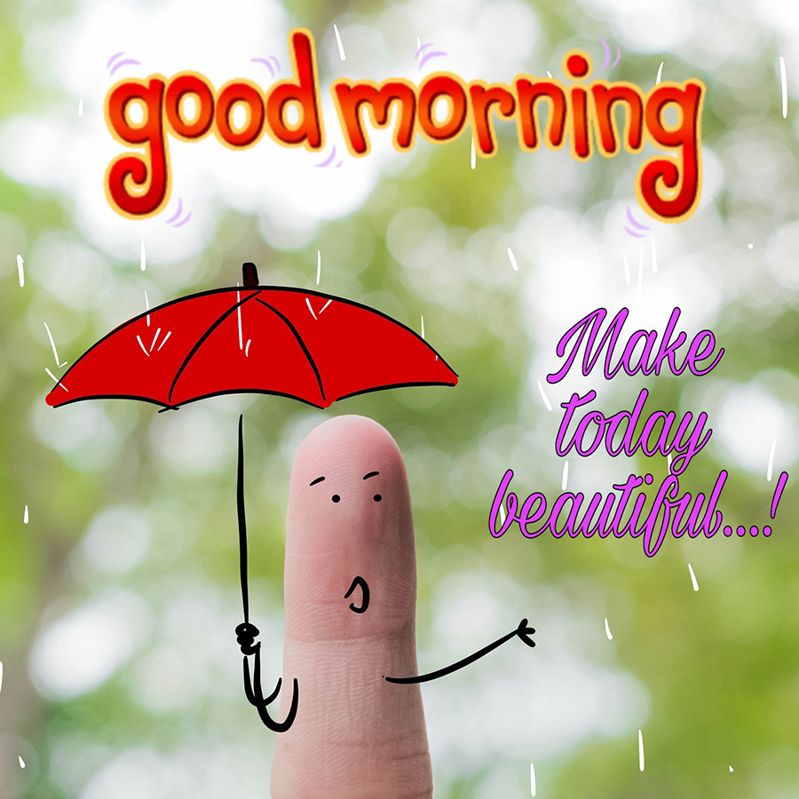 Good morning rain with funny finger